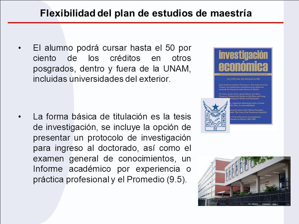 Flexibilidad del plan de estudios de maestría El alumno podrá cursar hasta el 50 por ciento de los créditos en otros posgrados, dentro y fuera de la U