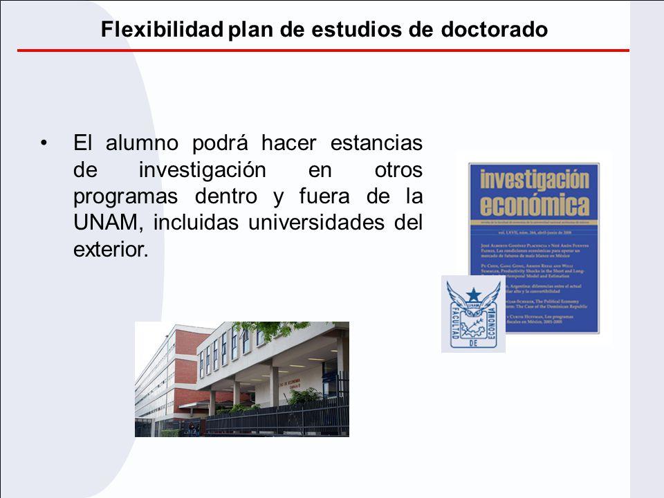 Flexibilidad plan de estudios de doctorado El alumno podrá hacer estancias de investigación en otros programas dentro y fuera de la UNAM, incluidas un