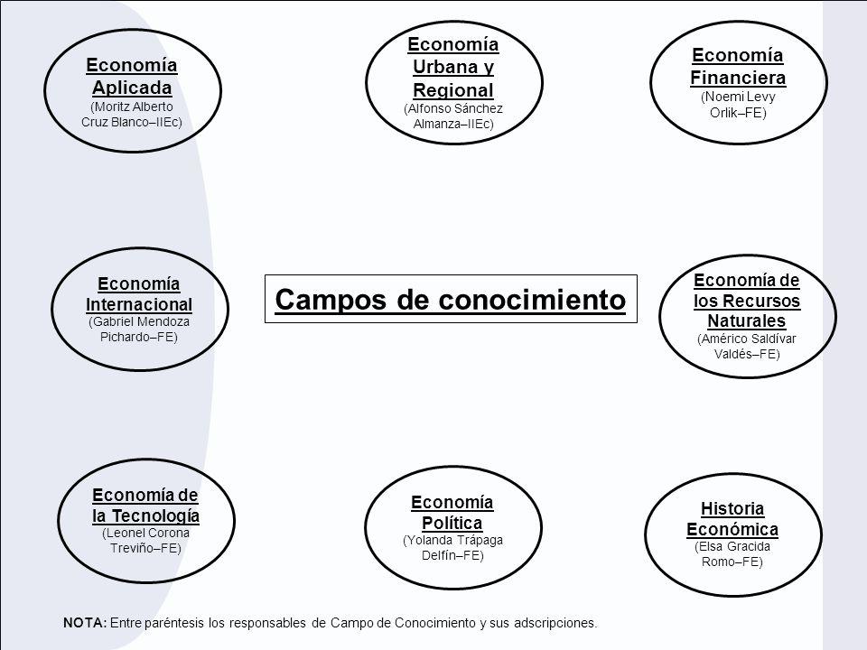 Economía de los Recursos Naturales (Américo Saldívar Valdés–FE) Economía Financiera ( Noemi Levy Orlik–FE) Economía Urbana y Regional (Alfonso Sánchez
