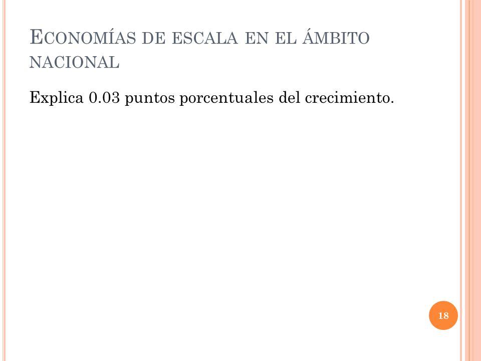 E CONOMÍAS DE ESCALA EN EL ÁMBITO NACIONAL Explica 0.03 puntos porcentuales del crecimiento. 18