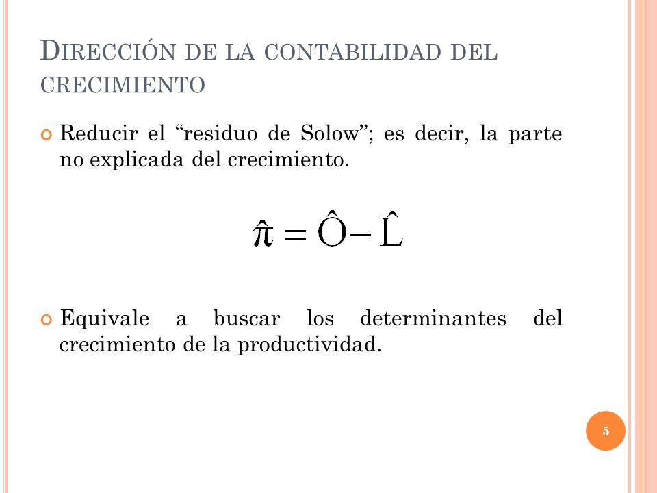 D IRECCIÓN DE LA CONTABILIDAD DEL CRECIMIENTO Reducir el residuo de Solow; es decir, la parte no explicada del crecimiento.