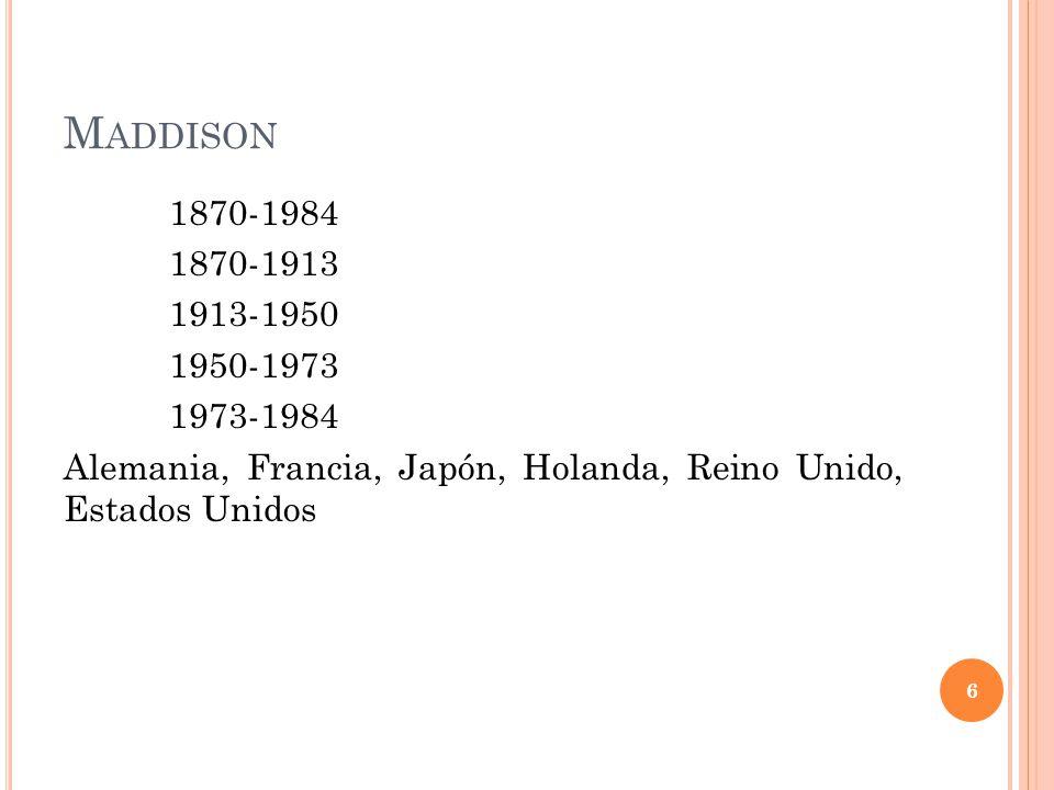 M ADDISON 1870-1984 1870-1913 1913-1950 1950-1973 1973-1984 Alemania, Francia, Japón, Holanda, Reino Unido, Estados Unidos 6