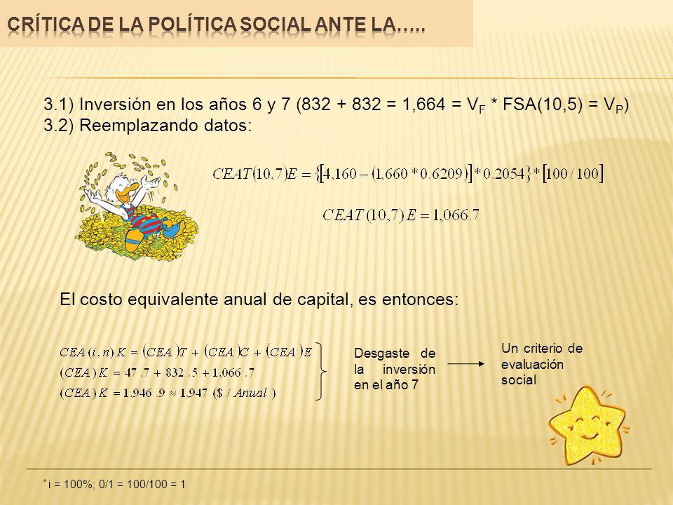 3.1) Inversión en los años 6 y 7 (832 + 832 = 1,664 = V F * FSA(10,5) = V P ) 3.2) Reemplazando datos: El costo equivalente anual de capital, es enton