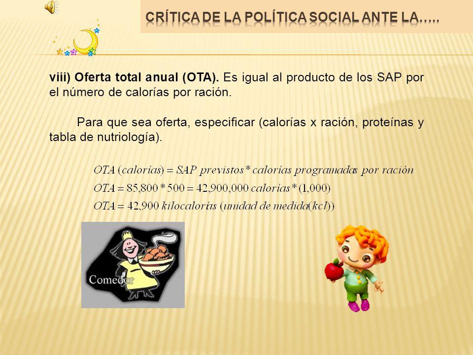 viii) Oferta total anual (OTA). Es igual al producto de los SAP por el número de calorías por ración. Para que sea oferta, especificar (calorías x rac