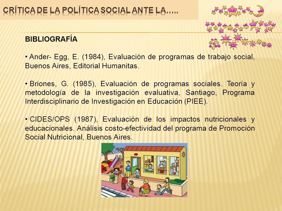 BIBLIOGRAFÍA Ander- Egg, E. (1984), Evaluación de programas de trabajo social, Buenos Aires, Editorial Humanitas. Briones, G. (1985), Evaluación de pr