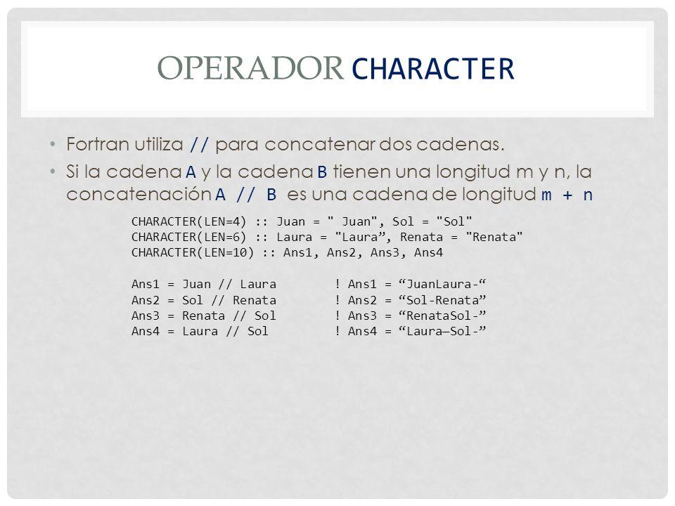 OPERADOR CHARACTER Fortran utiliza // para concatenar dos cadenas.