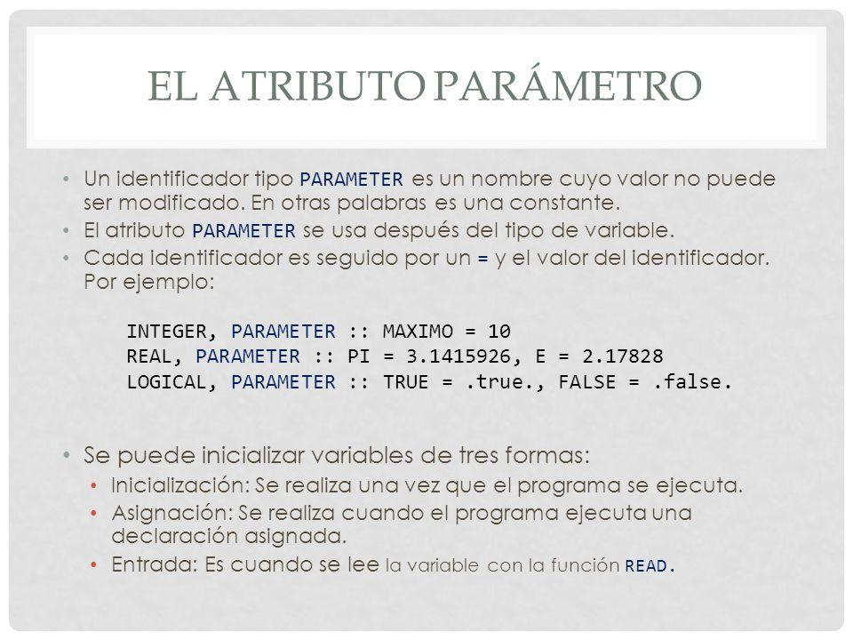EL ATRIBUTO PARÁMETRO Un identificador tipo PARAMETER es un nombre cuyo valor no puede ser modificado.