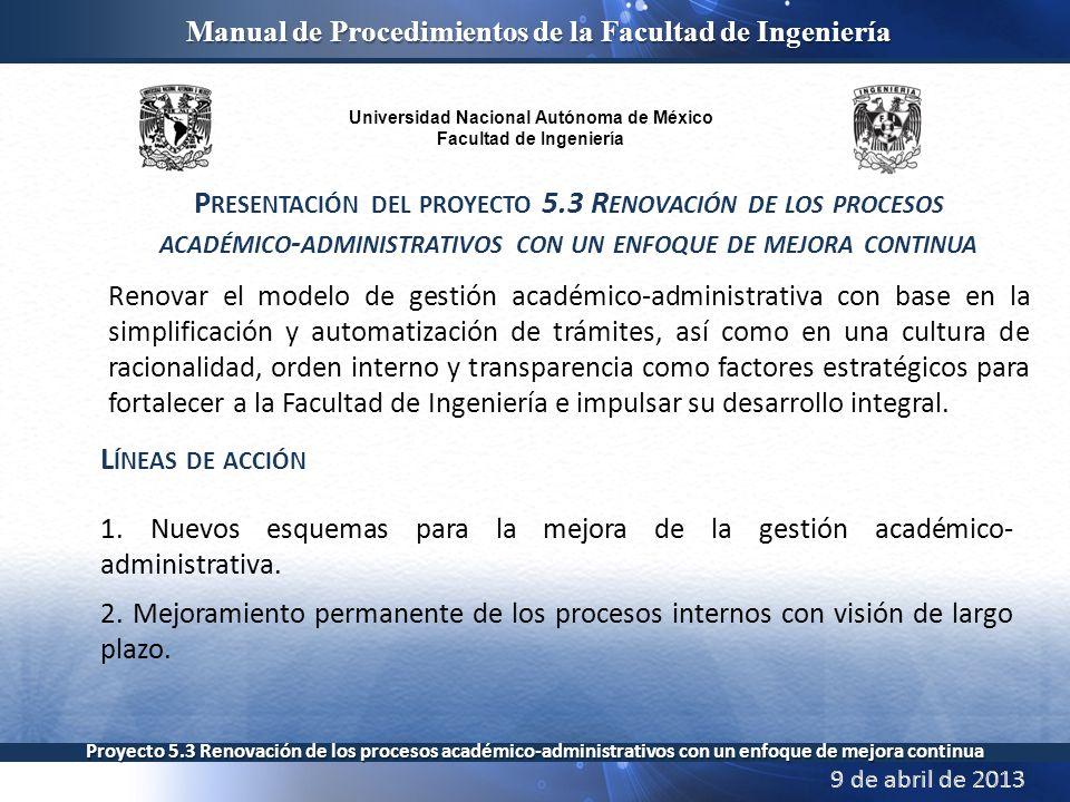 Universidad Nacional Autónoma de México Facultad de Ingeniería Manual de Procedimientos de la Facultad de Ingeniería Proyecto 5.3 Renovación de los procesos académico-administrativos con un enfoque de mejora continua Gracias por su atención