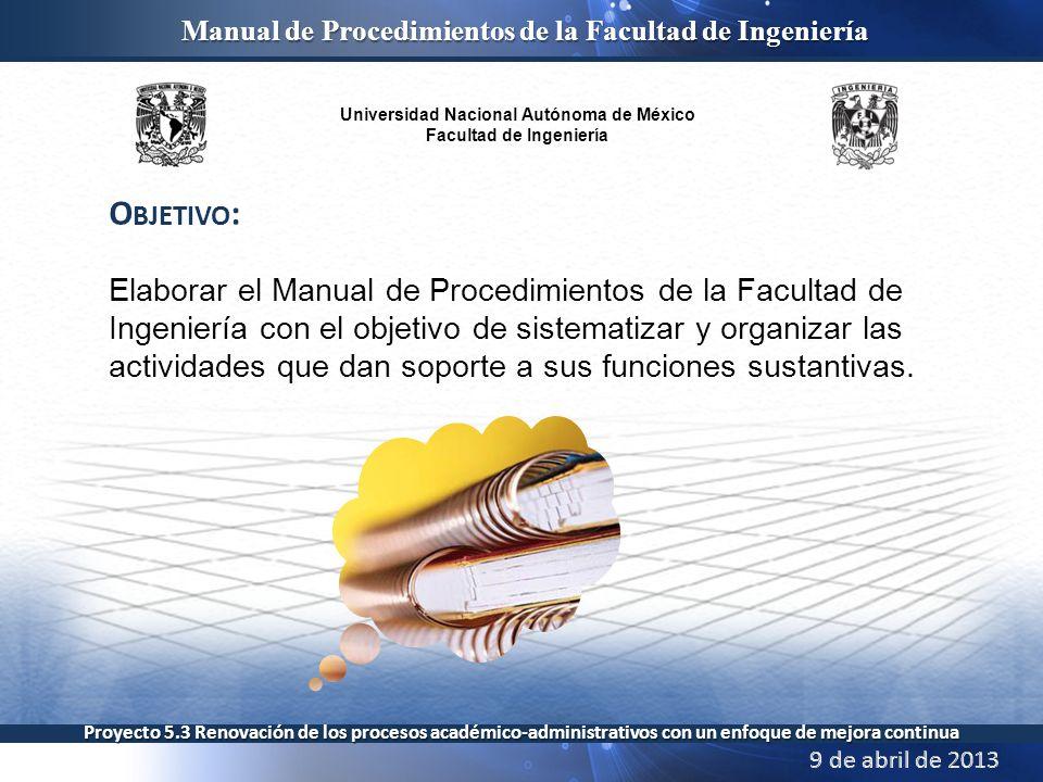 Universidad Nacional Autónoma de México Facultad de Ingeniería Manual de Procedimientos de la Facultad de Ingeniería Proyecto 5.3 Renovación de los procesos académico-administrativos con un enfoque de mejora continua
