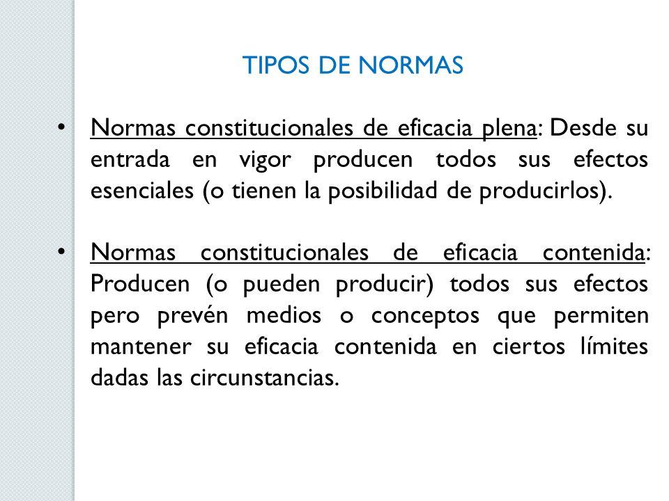 TIPOS DE NORMAS Normas constitucionales de eficacia plena: Desde su entrada en vigor producen todos sus efectos esenciales (o tienen la posibilidad de