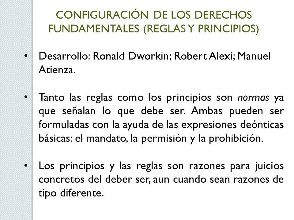 CONFIGURACIÓN DE LOS DERECHOS FUNDAMENTALES (REGLAS Y PRINCIPIOS) Desarrollo: Ronald Dworkin; Robert Alexi; Manuel Atienza. Tanto las reglas como los