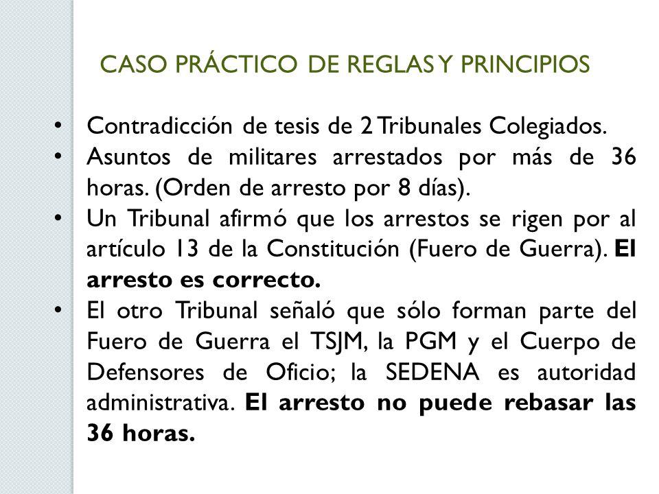 CASO PRÁCTICO DE REGLAS Y PRINCIPIOS Contradicción de tesis de 2 Tribunales Colegiados. Asuntos de militares arrestados por más de 36 horas. (Orden de