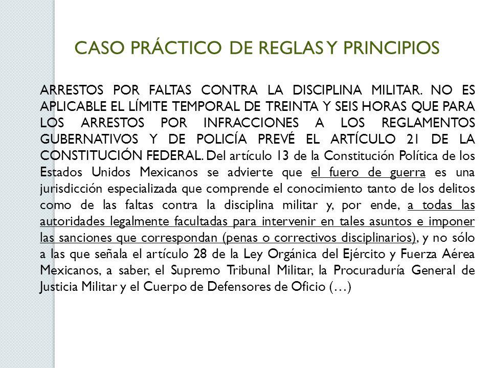 CASO PRÁCTICO DE REGLAS Y PRINCIPIOS ARRESTOS POR FALTAS CONTRA LA DISCIPLINA MILITAR.