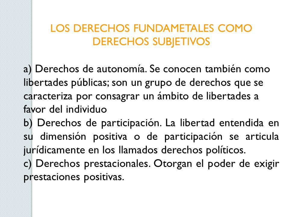 LOS DERECHOS FUNDAMETALES COMO DERECHOS SUBJETIVOS a) Derechos de autonomía.