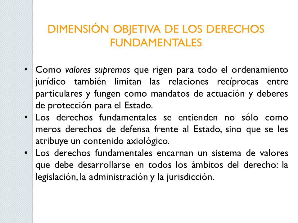 DIMENSIÓN OBJETIVA DE LOS DERECHOS FUNDAMENTALES Como valores supremos que rigen para todo el ordenamiento jurídico también limitan las relaciones rec