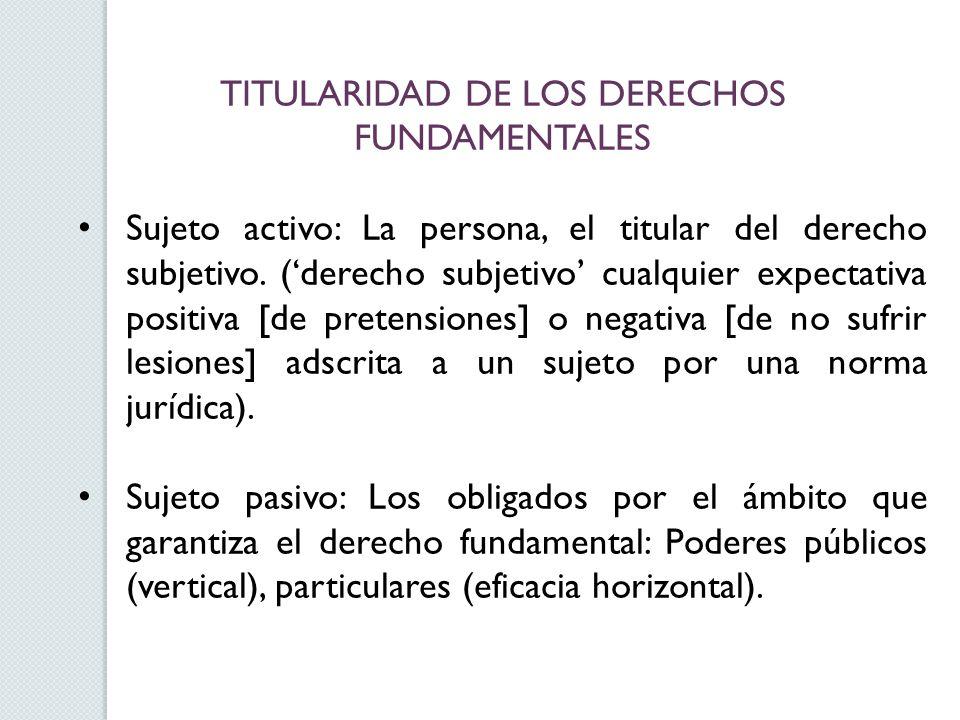 TITULARIDAD DE LOS DERECHOS FUNDAMENTALES Sujeto activo: La persona, el titular del derecho subjetivo. (derecho subjetivo cualquier expectativa positi