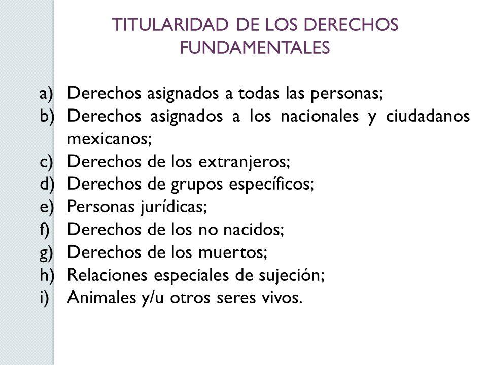 TITULARIDAD DE LOS DERECHOS FUNDAMENTALES a)Derechos asignados a todas las personas; b)Derechos asignados a los nacionales y ciudadanos mexicanos; c)D