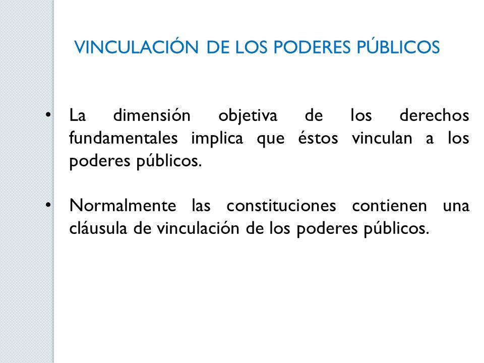 VINCULACIÓN DE LOS PODERES PÚBLICOS La dimensión objetiva de los derechos fundamentales implica que éstos vinculan a los poderes públicos. Normalmente