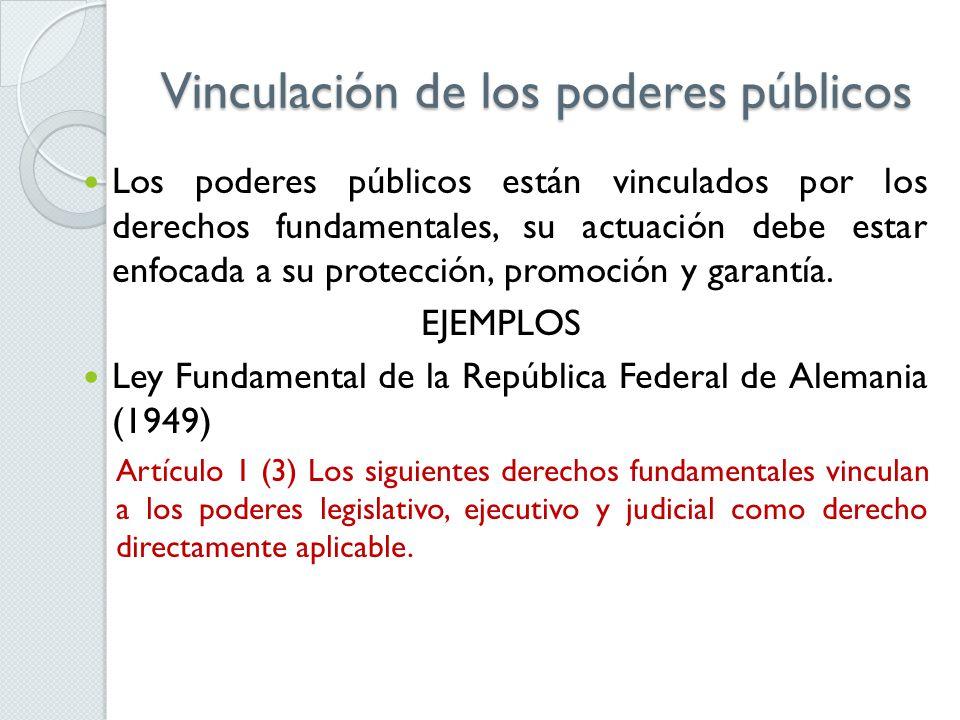 Vinculación de los poderes públicos Los poderes públicos están vinculados por los derechos fundamentales, su actuación debe estar enfocada a su protección, promoción y garantía.