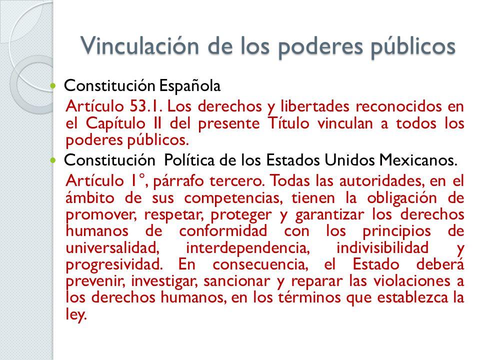 Vinculación de los poderes públicos Constitución Española Artículo 53.1. Los derechos y libertades reconocidos en el Capítulo II del presente Título v