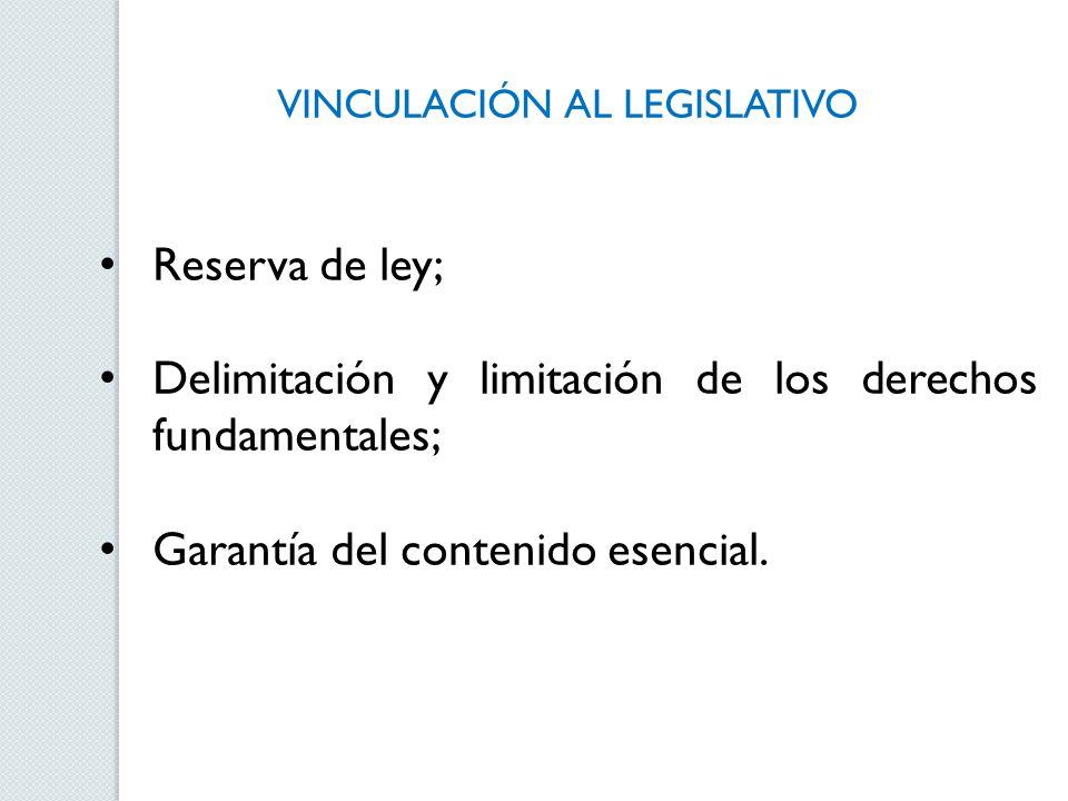 VINCULACIÓN AL LEGISLATIVO Reserva de ley; Delimitación y limitación de los derechos fundamentales; Garantía del contenido esencial.