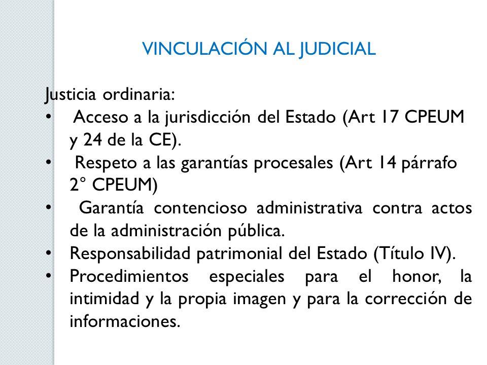 VINCULACIÓN AL JUDICIAL Justicia ordinaria: Acceso a la jurisdicción del Estado (Art 17 CPEUM y 24 de la CE). Respeto a las garantías procesales (Art