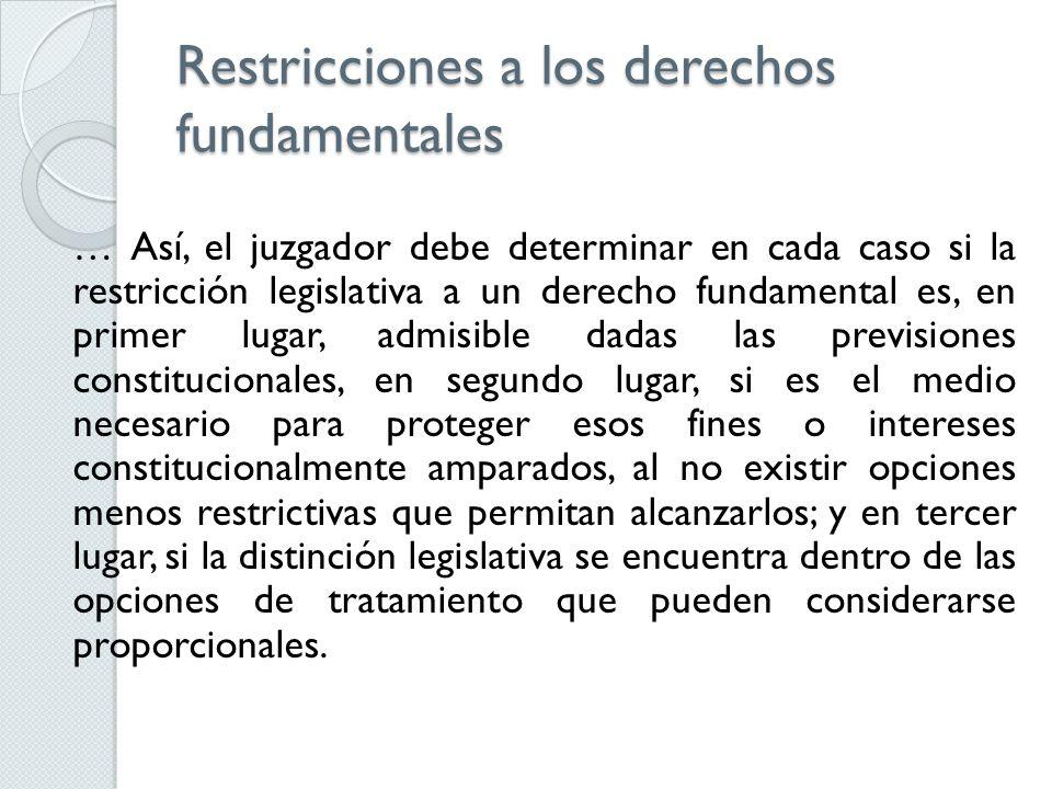 Restricciones a los derechos fundamentales … Así, el juzgador debe determinar en cada caso si la restricción legislativa a un derecho fundamental es,