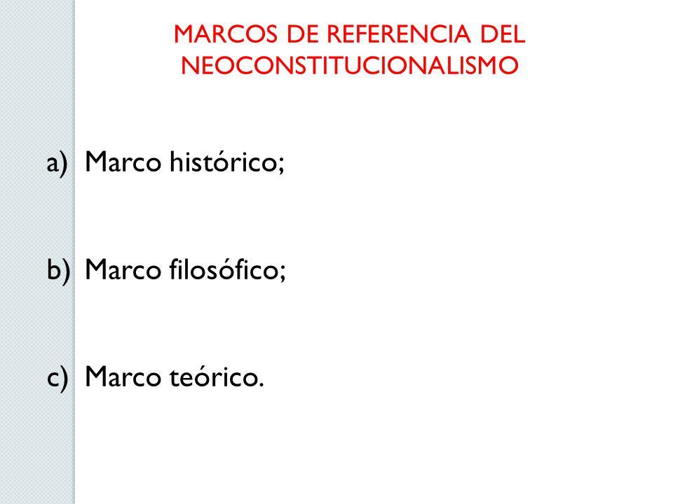 MARCOS DE REFERENCIA DEL NEOCONSTITUCIONALISMO a)Marco histórico; b)Marco filosófico; c)Marco teórico.