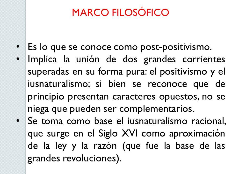 MARCO FILOSÓFICO Es lo que se conoce como post-positivismo. Implica la unión de dos grandes corrientes superadas en su forma pura: el positivismo y el
