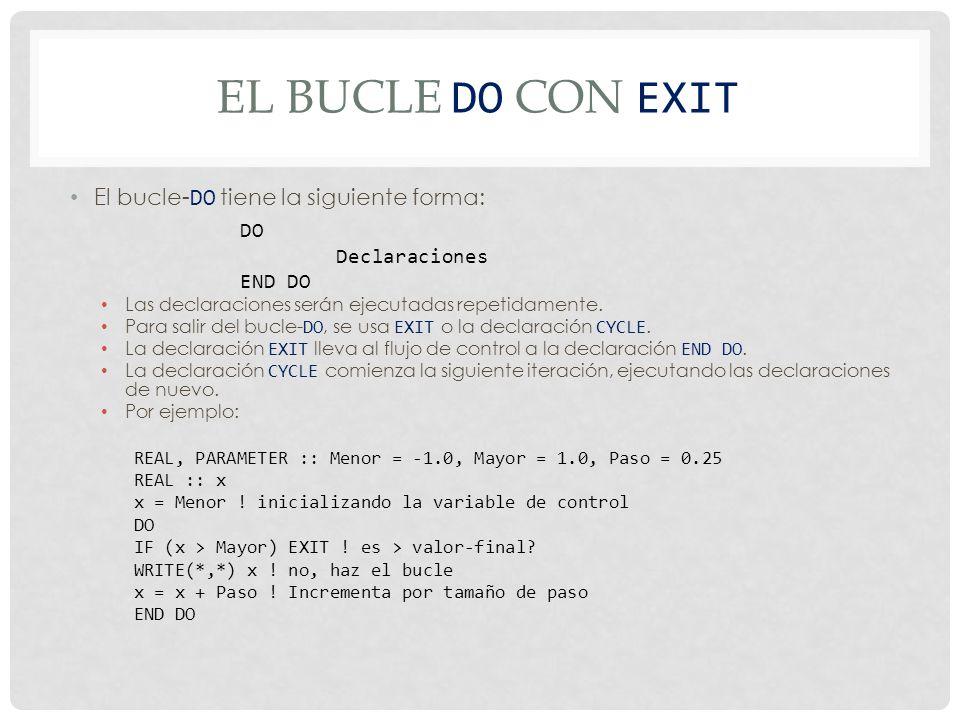 EL BUCLE DO CON EXIT El bucle- DO tiene la siguiente forma: Las declaraciones serán ejecutadas repetidamente.