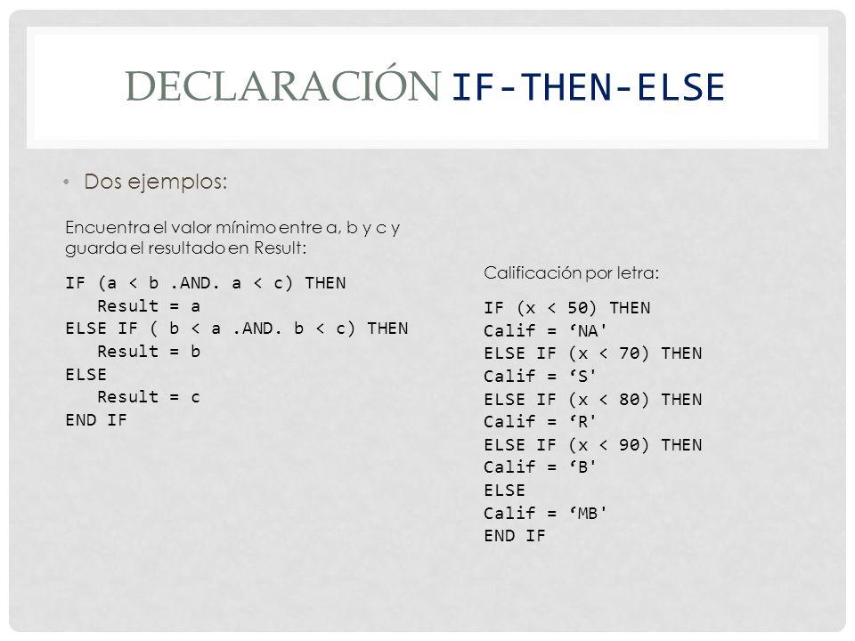 DECLARACIÓN IF-THEN-ELSE Dos ejemplos: IF (a < b.AND.