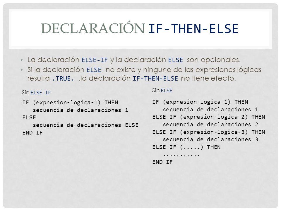 DECLARACIÓN IF-THEN-ELSE La declaración ELSE-IF y la declaración ELSE son opcionales.