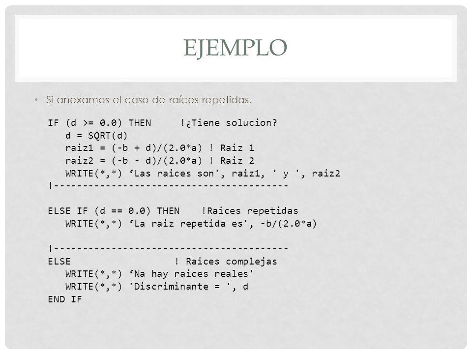 EJEMPLO Si anexamos el caso de raíces repetidas.IF (d >= 0.0) THEN !¿Tiene solucion.