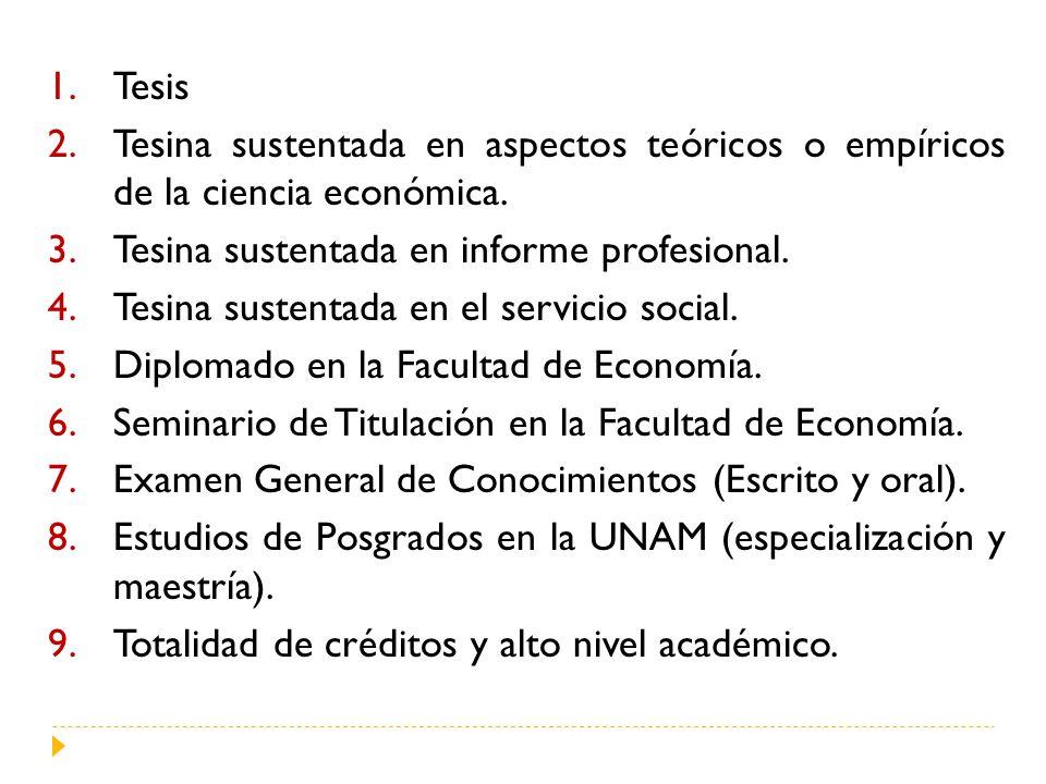 1.Tesis 2.Tesina sustentada en aspectos teóricos o empíricos de la ciencia económica.