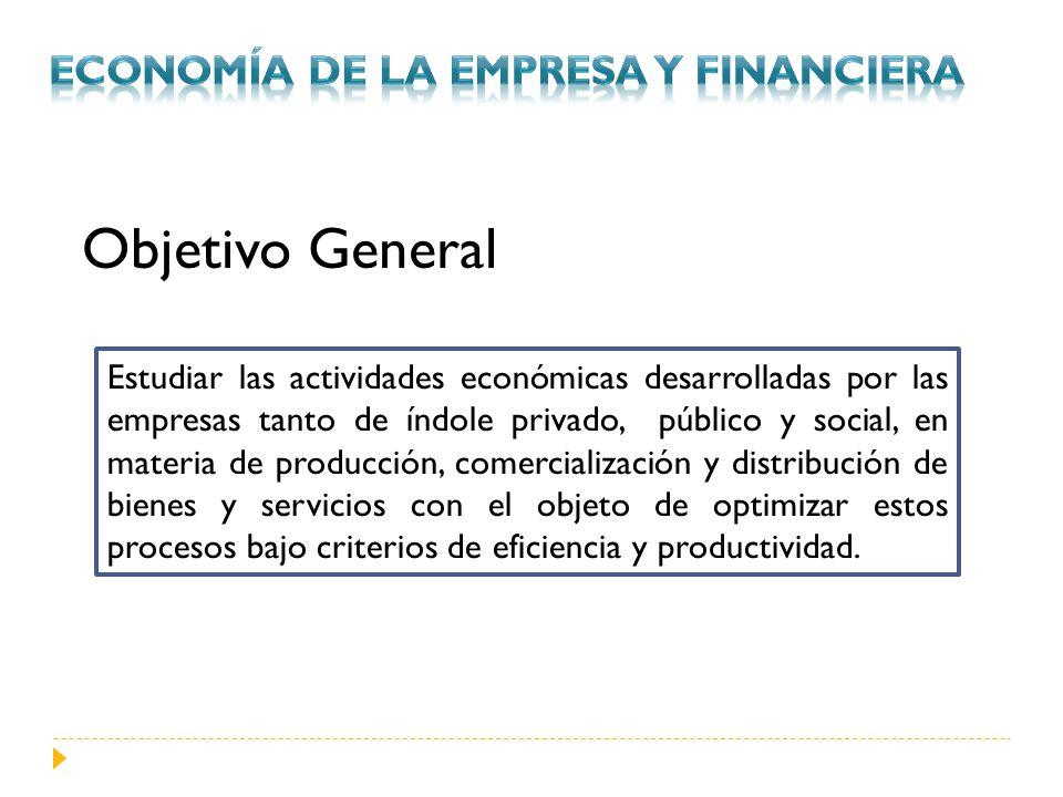 Objetivo General Estudiar las actividades económicas desarrolladas por las empresas tanto de índole privado, público y social, en materia de producció