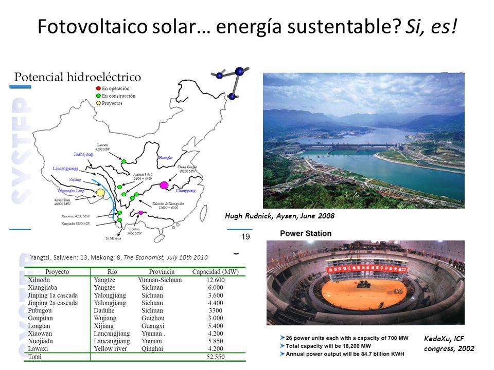 Fotovoltaico solar… energía sustentable? Si, es! Yangtzi, Salween: 13, Mekong: 8, The Economist, July 10th 2010 KedaXu, ICF congress, 2002 Hugh Rudnic