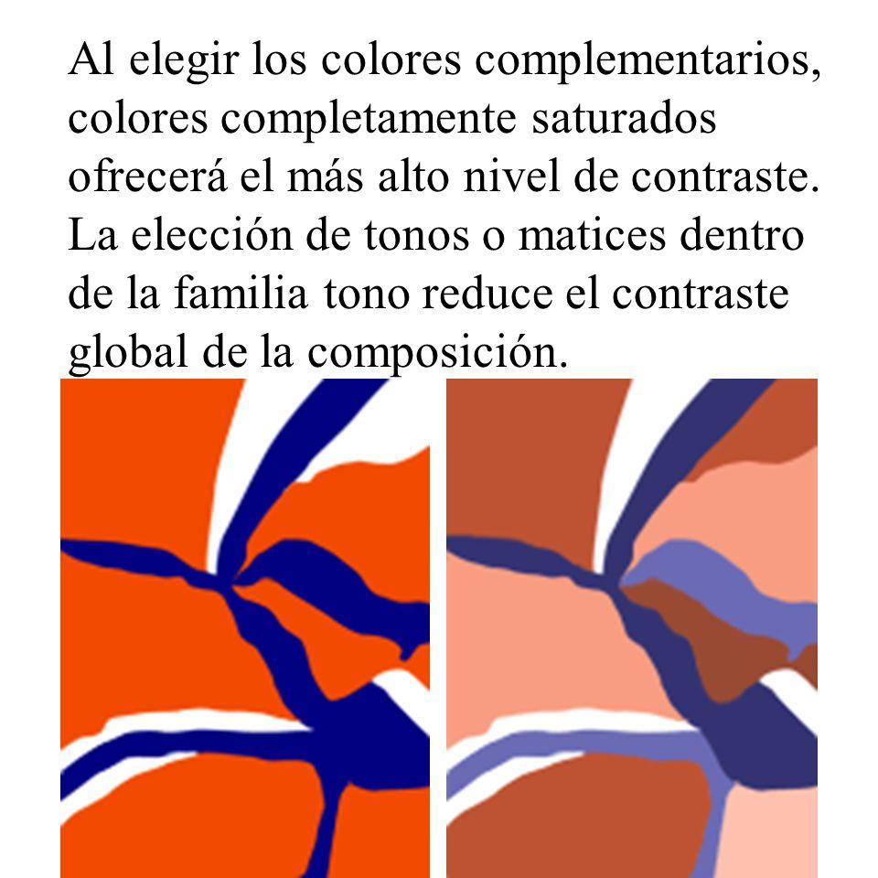 Al elegir los colores complementarios, colores completamente saturados ofrecerá el más alto nivel de contraste. La elección de tonos o matices dentro