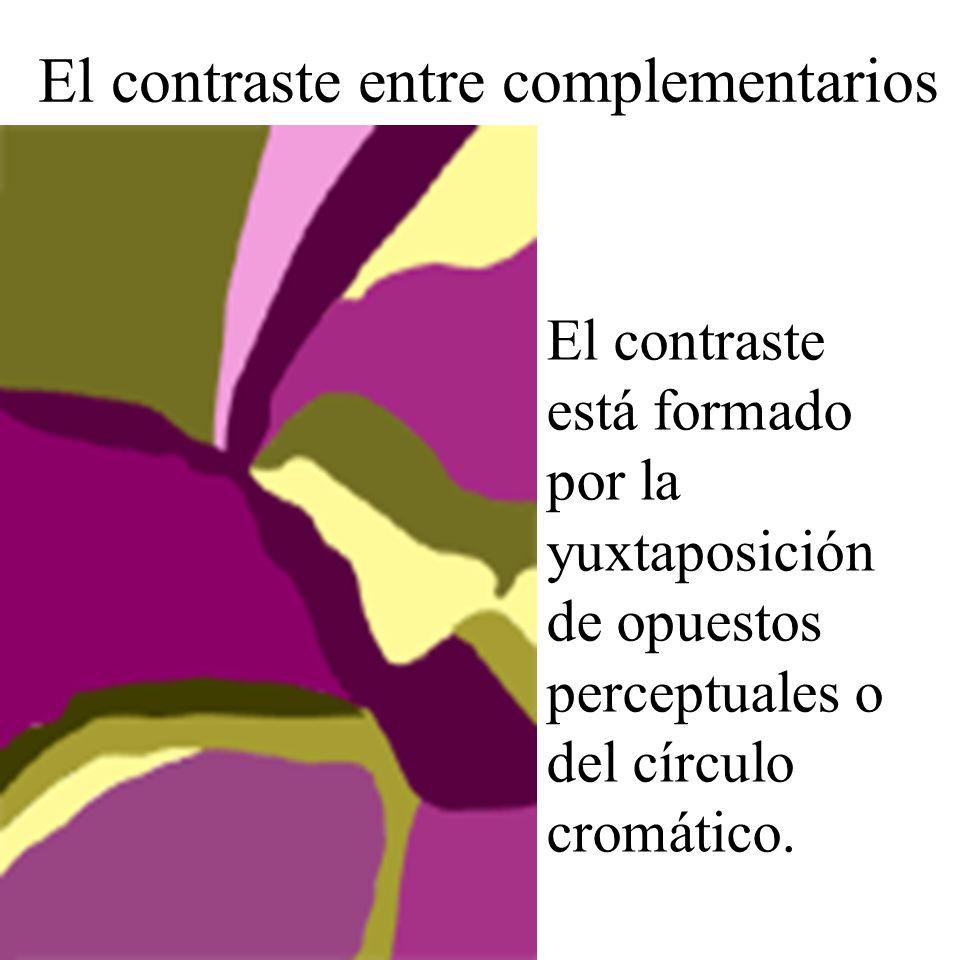 El contraste está formado por la yuxtaposición de opuestos perceptuales o del círculo cromático. El contraste entre complementarios