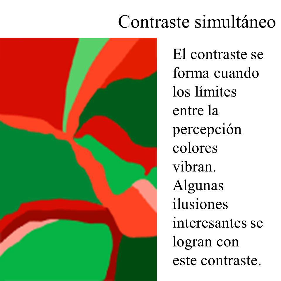 El contraste se forma cuando los límites entre la percepción colores vibran. Algunas ilusiones interesantes se logran con este contraste. Contraste si
