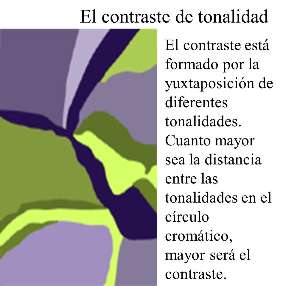 El contraste de tonalidad El contraste está formado por la yuxtaposición de diferentes tonalidades. Cuanto mayor sea la distancia entre las tonalidade