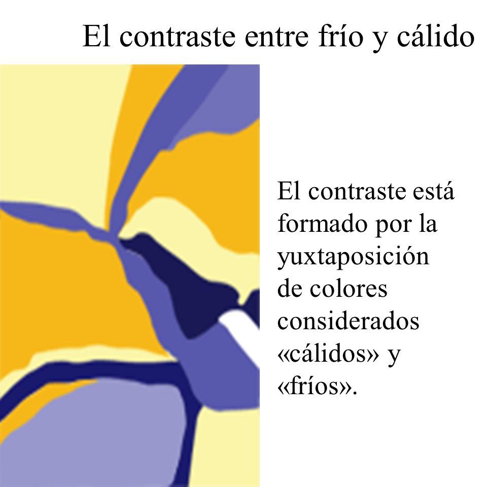 El contraste está formado por la yuxtaposición de colores considerados «cálidos» y «fríos». El contraste entre frío y cálido