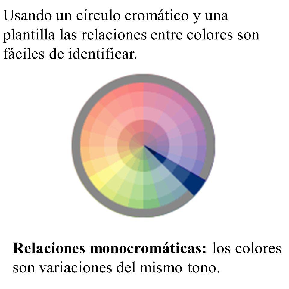Usando un círculo cromático y una plantilla las relaciones entre colores son fáciles de identificar. Relaciones monocromáticas: los colores son variac