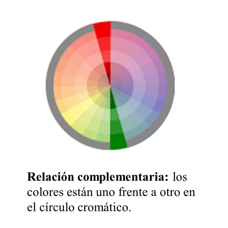 Relación complementaria: los colores están uno frente a otro en el círculo cromático.