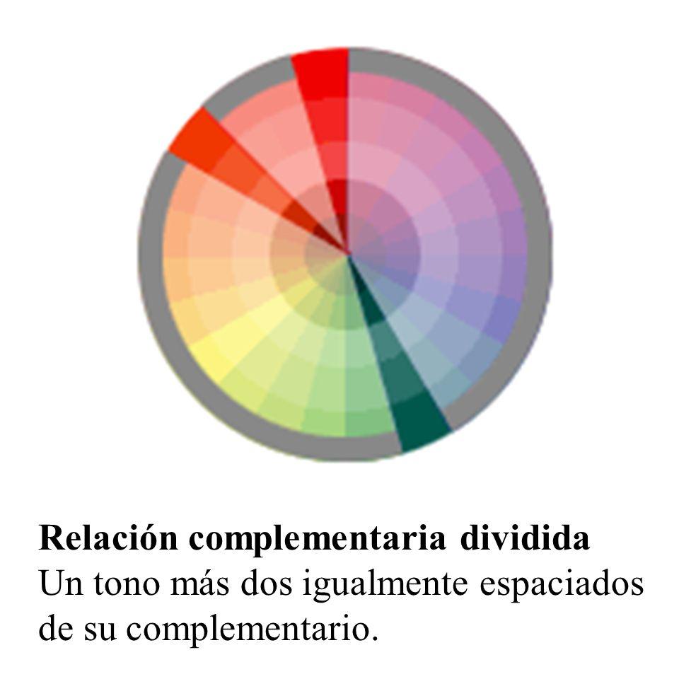 Doble relación complementaria dos juegos de colores complementarios; la distancia entre los colores seleccionados en pares complementarios será el contraste final de la composición.