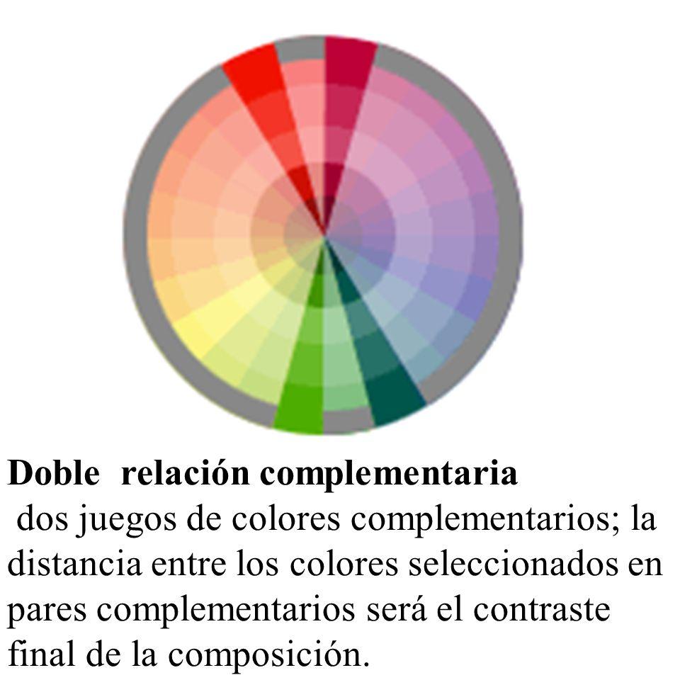 Doble relación complementaria dos juegos de colores complementarios; la distancia entre los colores seleccionados en pares complementarios será el con