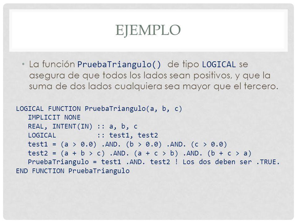 La función PruebaTriangulo() de tipo LOGICAL se asegura de que todos los lados sean positivos, y que la suma de dos lados cualquiera sea mayor que el tercero.