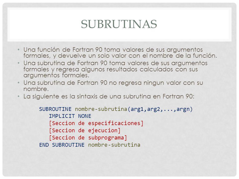SUBRUTINAS Una función de Fortran 90 toma valores de sus argumentos formales, y devuelve un solo valor con el nombre de la función. Una subrutina de F