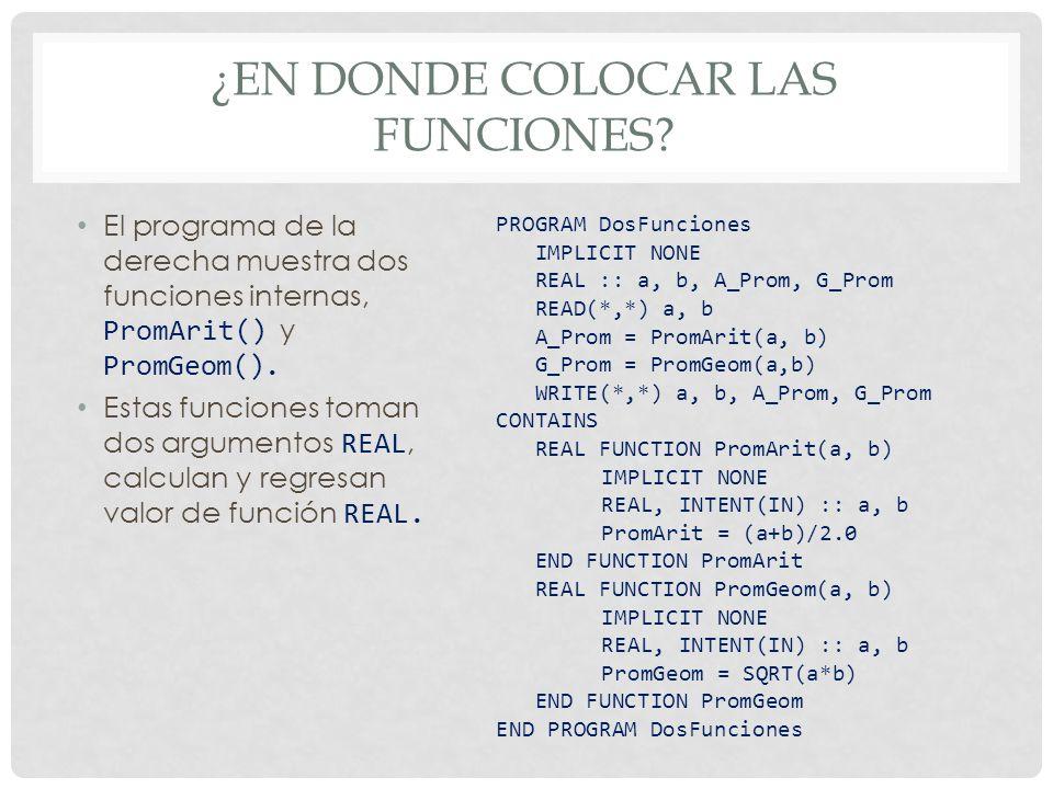 ¿EN DONDE COLOCAR LAS FUNCIONES? El programa de la derecha muestra dos funciones internas, PromArit() y PromGeom(). Estas funciones toman dos argument