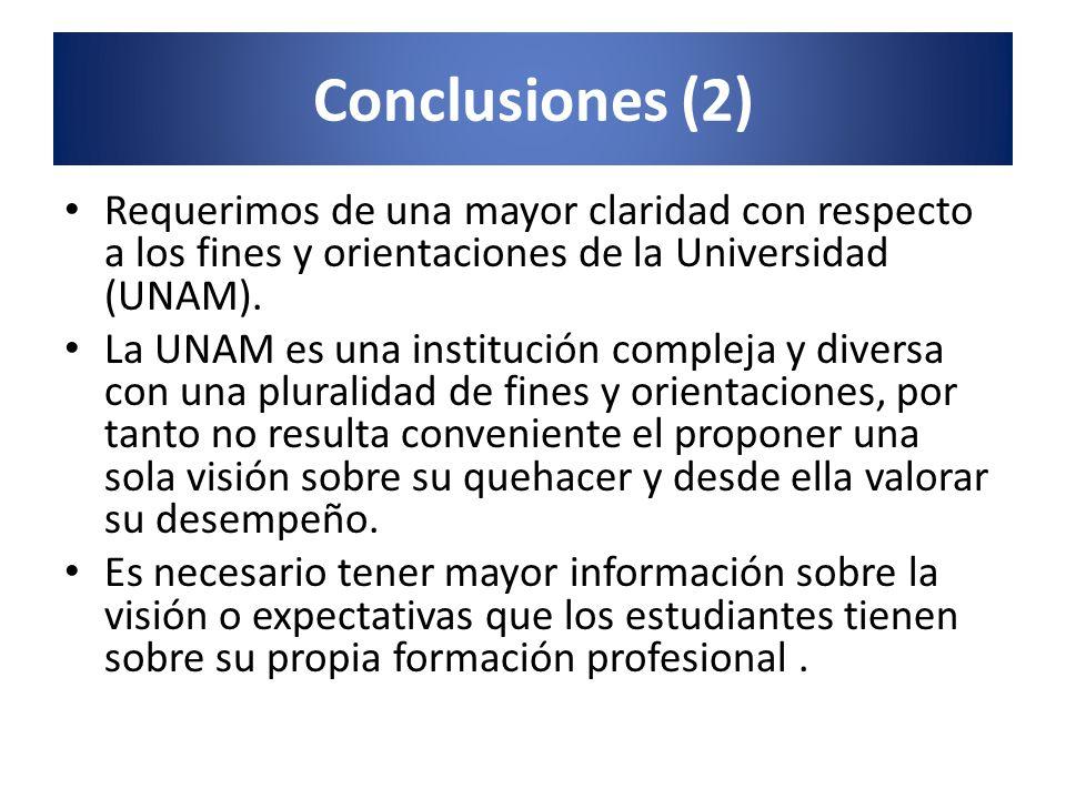 Conclusiones (2) Requerimos de una mayor claridad con respecto a los fines y orientaciones de la Universidad (UNAM). La UNAM es una institución comple