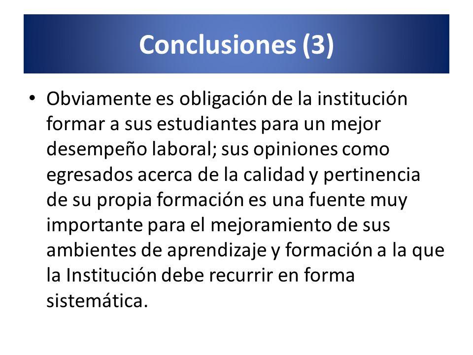 Conclusiones (3) Obviamente es obligación de la institución formar a sus estudiantes para un mejor desempeño laboral; sus opiniones como egresados ace